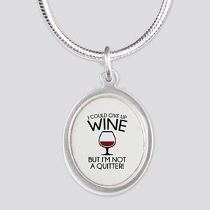 I Could Give Up Wine Silver Oval Necklace