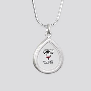 I Could Give Up Wine Silver Teardrop Necklace