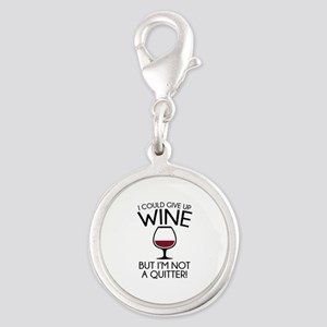 I Could Give Up Wine Silver Round Charm