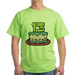 13 Year Old Birthday Cake Green T-Shirt