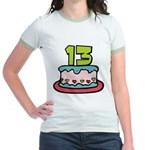 13 Year Old Birthday Cake Jr. Ringer T-Shirt