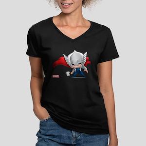 Thor Stylized Women's V-Neck Dark T-Shirt