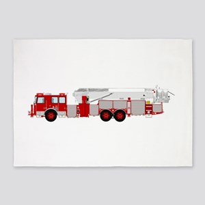 Red fire truck drawing 1 5'x7'Area Rug