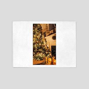 Christmas decor scene golden 2 5'x7'Area Rug