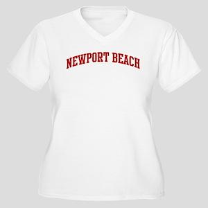 NEWPORT BEACH (red) Women's Plus Size V-Neck T-Shi