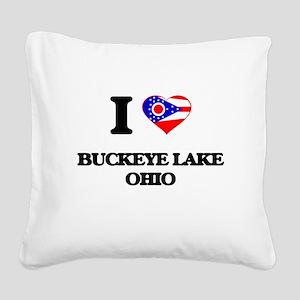 I love Buckeye Lake Ohio Square Canvas Pillow