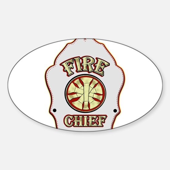 Fire chief helmet shield white Decal