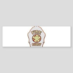 Fire chief helmet shield white Bumper Sticker