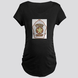 Fire chief helmet shield white Maternity T-Shirt