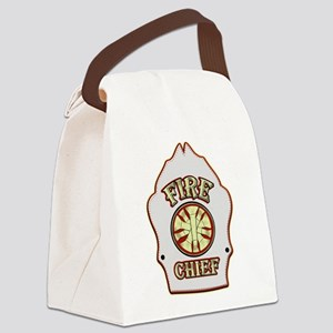 Fire chief helmet shield white Canvas Lunch Bag