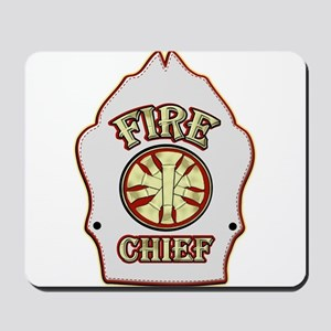 Fire chief helmet shield white Mousepad