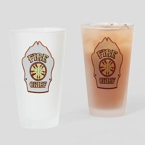 Fire chief helmet shield white Drinking Glass
