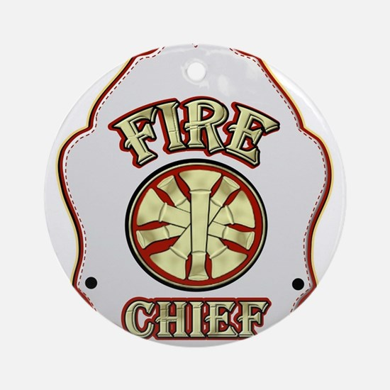Fire chief helmet shield white Ornament (Round)