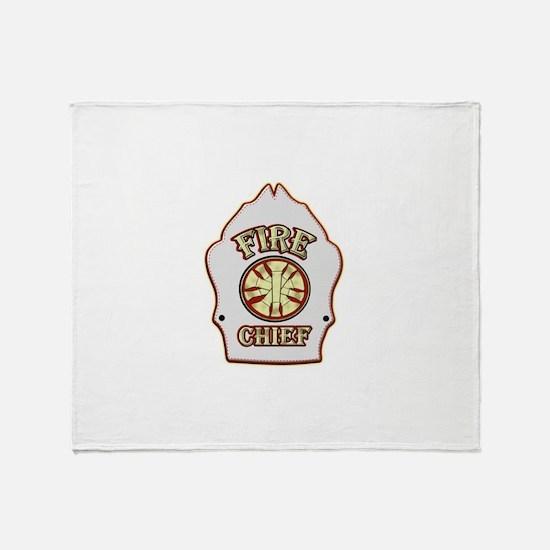 Fire chief helmet shield white Throw Blanket