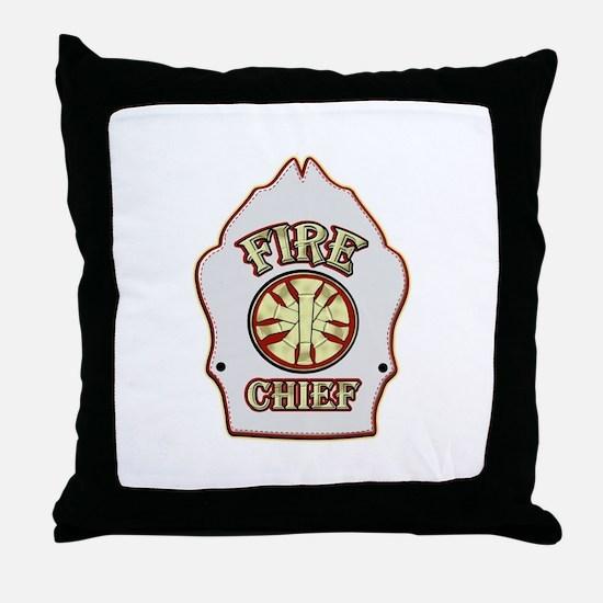 Fire chief helmet shield white Throw Pillow
