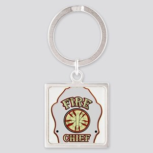 Fire chief helmet shield white Keychains