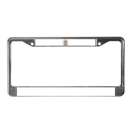 Fire chief helmet shield white License Plate Frame by Admin_CP129314141
