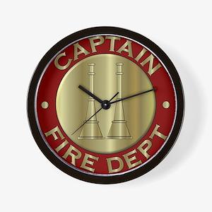 Fire captain emblem bugles Wall Clock