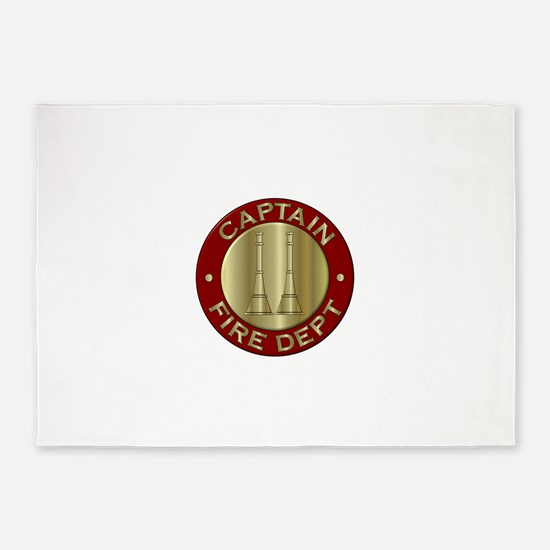 Fire captain emblem bugles 5'x7'Area Rug