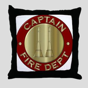 Fire captain emblem bugles Throw Pillow