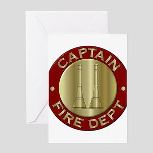Fire captain emblem bugles Greeting Cards
