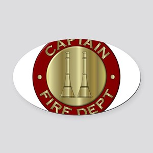 Fire captain emblem bugles Oval Car Magnet