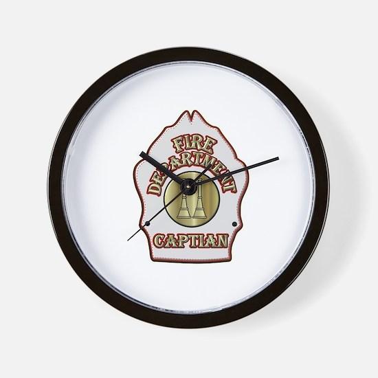 Fire Captain helmet shield white Wall Clock