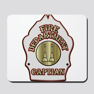 Fire Captain helmet shield white Mousepad