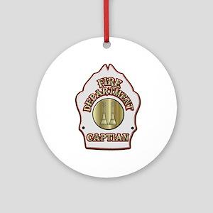 Fire Captain helmet shield white Ornament (Round)
