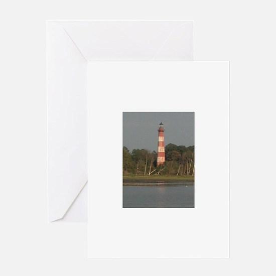 Asateague lighthouse (rustic) Greeting Cards