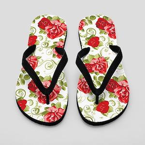 Vintage Floral Pattern Flip Flops