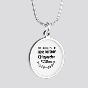 Personalized Worlds Most Awe Silver Round Necklace