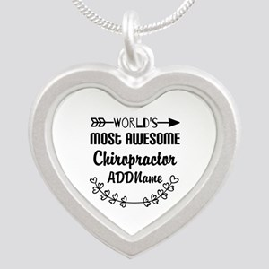 Personalized Worlds Most Awe Silver Heart Necklace