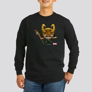 Loki Stylized Long Sleeve Dark T-Shirt