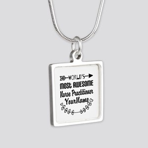 World's Most Awesome Nurs Silver Square Necklace