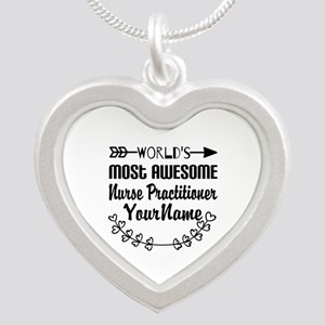 World's Most Awesome Nurse Silver Heart Necklace