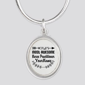 World's Most Awesome Nurse P Silver Oval Necklace
