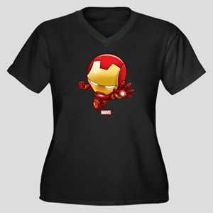Iron Man Sty Women's Plus Size V-Neck Dark T-Shirt