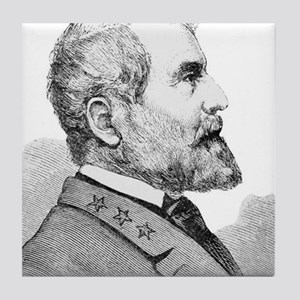 Robert E Lee Portrait Illustration Tile Coaster