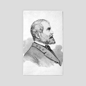 Robert E Lee Portrait Illustration Area Rug