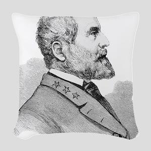 Robert E Lee Portrait Illustra Woven Throw Pillow