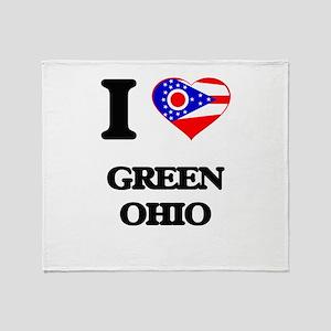 I love Green Ohio Throw Blanket