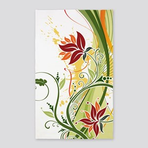 Stylish Abstract Floral Design Area Rug