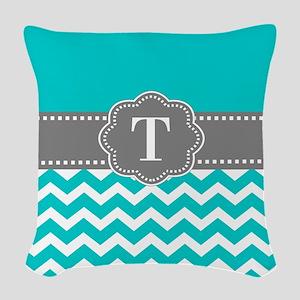 Teal Gray Chevron Monogram Woven Throw Pillow