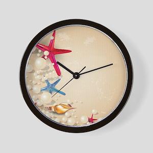 Decorative Summer Beach Sand Shells Wall Clock
