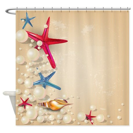 DECORATIVE SUMMER BEACH SAND SHELLS SHOWER CURTAIN