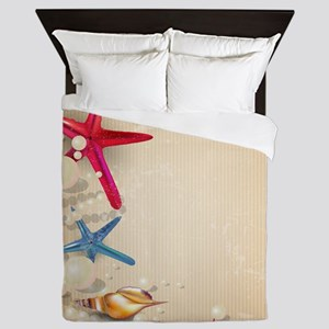 Decorative Summer Beach Sand Shells Queen Duvet