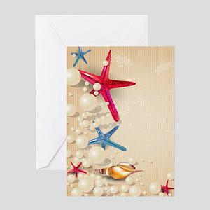 Decorative Summer Beach Sand Shells Greeting Cards