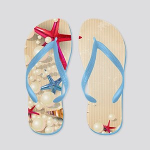 Decorative Summer Beach Sand Shells Flip Flops