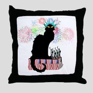 Lady Liberty - Patriotic Le Chat Noir Throw Pillow